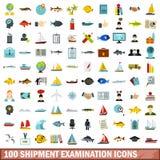 100 shipment examination icons set, flat style. 100 shipment examination icons set in flat style for any design vector illustration vector illustration