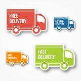 Shipment and free delivery. Free shipping, 24 hour and fast delivery icons Royalty Free Stock Photos