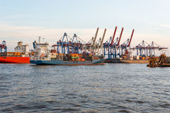 Shipment of goods on container terminal Burchardkai Royalty Free Stock Photography