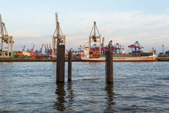 Shipment of goods on container terminal Burchardkai Stock Photography