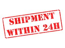 Shipment within 24h on Red Rubber Stamp. Shipment within 24h on Red Rubber Stamp Isolated on White royalty free stock images