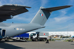 Shipment of humanitarian aid of the German Red Cross. BERLIN, GERMANY - MAY 21, 2014: Shipment of humanitarian aid of the German Red Cross in military transport Stock Image