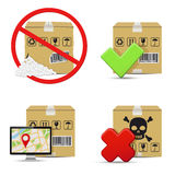 Shipment icons. Cardboard boxes design. Stock Images