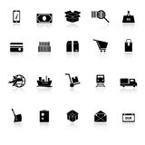 Shipment icons with reflect on white background Royalty Free Stock Image