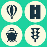 Shipment Icons Set. Collection Of Stoplight, Airship, Tanker And Other Elements. Also Includes Symbols Such As Ship. Shipment Icons Set. Collection Of Stoplight Stock Photography