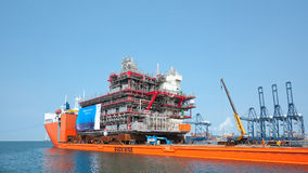 Shipment of oil rig module from Thailand to Norway Stock Photos