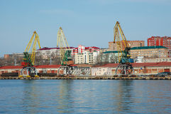 Shipment pier in russian seaport Vladivostok. Stock Photo