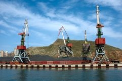 Shipment pier in russian seaport Vladivostok. Royalty Free Stock Photo