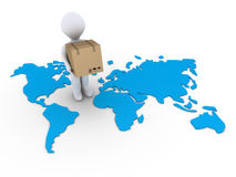 Shipment to the whole world. 3d person holding a carton box on a world map Stock Image