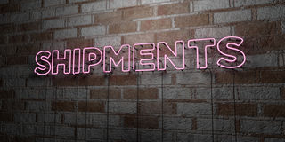 SHIPMENTS - Glowing Neon Sign on stonework wall - 3D rendered royalty free stock illustration Stock Image