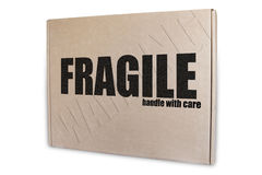 Shipments Packaging. With fragile text printed on his front. Isolated on white stock photo