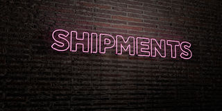 SHIPMENTS -Realistic Neon Sign on Brick Wall background - 3D rendered royalty free stock image Royalty Free Stock Photos