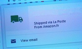 Shipped via La Poste items from Amazon.fr Royalty Free Stock Photography