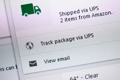 Shipped via UPS from Amazon tracking Royalty Free Stock Photos