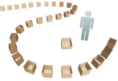 Shipper Shipping line of empty boxes. A business Shipper and a Shipping carton line of open empty boxes to fill Royalty Free Stock Image