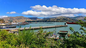 Shipping activities at Lyttelton Harbour in New Zealand Royalty Free Stock Image