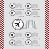 Shipping and air transport service white circle stamps set Stock Photos