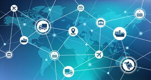 Free Shipping And Supply Chain Vector With World Map Stock Image - 174484641