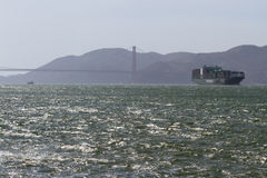 Shipping barge in the bay area Stock Photo