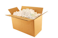 Shipping Box #2. Cardboard box filled with styrofoam peanuts, isolated on white royalty free stock photo