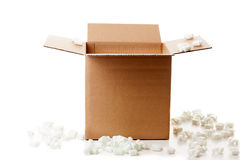 Shipping box. With packaging material on white background royalty free stock photography