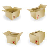 Shipping box. Vector and Box Icon and Signs Royalty Free Stock Photos