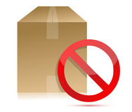 Shipping box with don't sign in front Royalty Free Stock Images