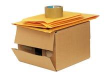 Shipping box and envelopes Stock Photo