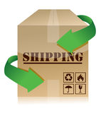Shipping box with green arrows illustration Royalty Free Stock Photography