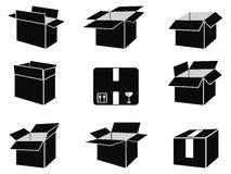 Shipping box icons Stock Photo