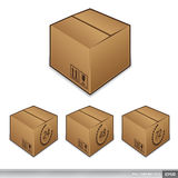 Shipping box icons with time Royalty Free Stock Image