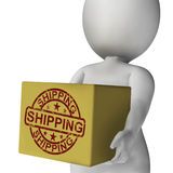 Shipping Box Means International Transport Of Goods Royalty Free Stock Photo