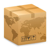 Shipping Box with World Globe Map Royalty Free Stock Photos