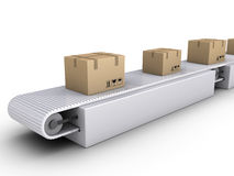 Shipping of boxes on conveyor. 3d carton boxes on conveyor in a warehouse Royalty Free Stock Photography