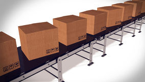 Shipping Boxes On A Conveyor Belt/ Shipping Merchandise. Stock Photo