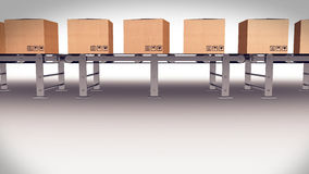 Shipping Boxes On A Conveyor Belt/ Shipping Merchandise. Royalty Free Stock Photography