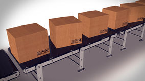 Shipping Boxes On A Conveyor Belt/ Shipping Merchandise. Stock Photography
