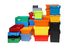 Shipping boxes. Crates and boxes for delivery shipping isolated included clipping path royalty free stock photography