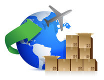 Shipping boxes and plane Stock Photo