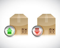 Shipping boxes. sending or receiving illustration Royalty Free Stock Image