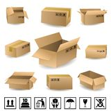 Shipping Boxes Set Stock Images
