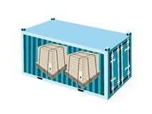 Shipping Boxes with Steel Strapping in Cargo Conta Royalty Free Stock Photography