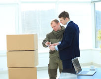Shipping boxes to office Stock Photos