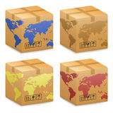Shipping Boxes with World Globe Map Royalty Free Stock Photos