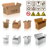 Shipping cardboard box vectors Stock Images