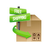 Shipping cardboard and road sign illustration Stock Photos