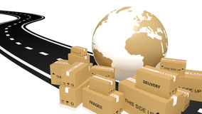 Shipping cardboards and globe Stock Images