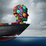Shipping Cargo Concept. As a global container tanker ship transporting freight shaped as a human head as a transportation and trade metaphor with 3D Stock Photography