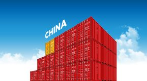 Shipping cargo container China flag for logistics and transportation with clouds vector illustration