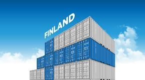 Shipping cargo container Finland flag for logistics and transportation with clouds. Shipping cargo container for logistics and transportation as like a Finland Stock Photos